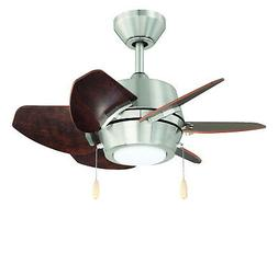 "Brushed Nickel Dual Mount 6-Blade Ceiling Fan 24"" LED Light"