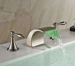 Rozin Brushed Nickel LED Colors Waterfall Bathroom Sink Fauc