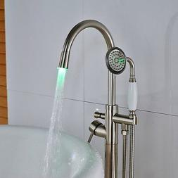LED Brushed Nickel Floor Mounted Faucet Free Standing Tub Fi