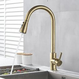Brushed Nickel Gold Swivel Kitchen Sink Faucet Pull Out Spra