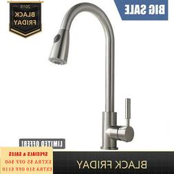 Brushed Nickel Kitchen Sink Faucet Pull Out Sprayer Single H