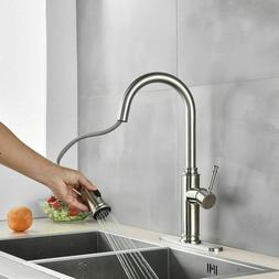 Brushed Nickel Kitchen Faucets with Pull Down Sprayer Commer