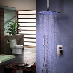 "Brushed Nickel LED 8""Ceiling Mount Rain Shower&Handshower Sy"
