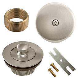 Brushed Nickel Lift and Turn Bathtub Drain Conversion Kit As