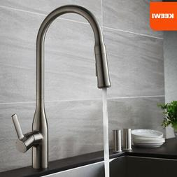 Keewi Brushed Nickel Pull out Kitchen Faucet, Solid Brass &