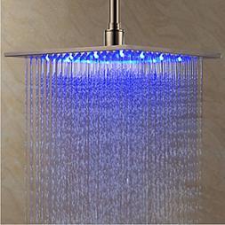 Rozin Brushed Nickel 8-inch LED Color Rain Shower Head Bathr