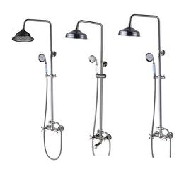 Brushed Nickel Rainfall Shower Faucet Set  Hand Sprayer Wall