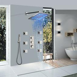 LED Waterfall Rain Black Shower Panel Tower In Stainless Ste