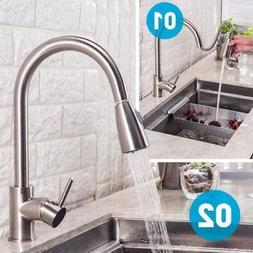 Brushed Nickel Single Hole Kitchen Faucet Pull Out Sprayer S