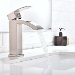 Brushed Nickel Single Lever Bathroom Sink Faucet Basin 1 Hol