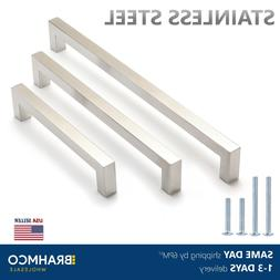 Brushed Nickel Square Bar Pulls Kitchen Cabinet Handles Stai
