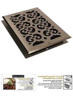 Brushed Nickel Steel Scroll Wall Register 6X10 Decorative Ve