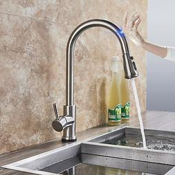 Brushed Nickel Touch Sensor Swivel Kitchen Sink Faucet Pull