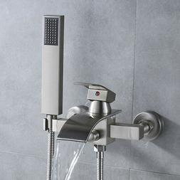 Brushed Nickel Tub Shower System Brass Hand Sprayer Wall Mou