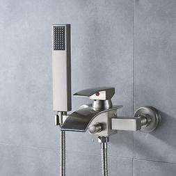 Brushed Nickel Wall Mount Tub Faucet Waterfall Single Handle