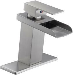 BWE Brushed Nickel Waterfall Bathroom Sink faucet Lavatory S