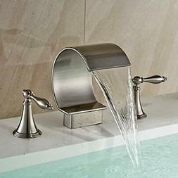 Brushed Nickel Widespread Bathroom Basin Sink Faucet Dual Ha