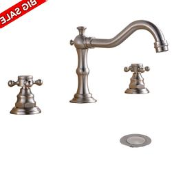 Brushed Nickel Widespread Faucet Dual Handles Vanity 3 Holes