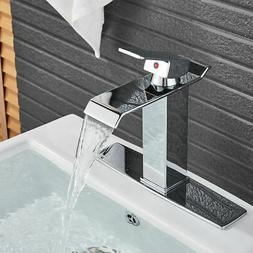 BWE Brushed Nickel Bathroom Basin Sink Faucet Waterfall Spou
