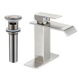 BWE Waterfall Brushed Nickel Bathroom Sink Faucet Single Lev