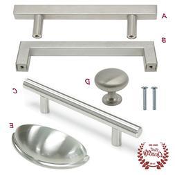 Cabinet Drawer Handles Kitchen Brushed Nickel Bar Pulls Squa