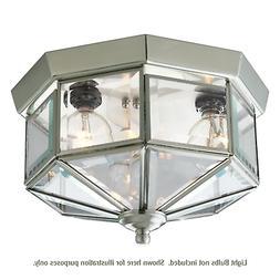 Ceiling Flush Mount 3-Light Octagonal Brushed Nickel Fixture