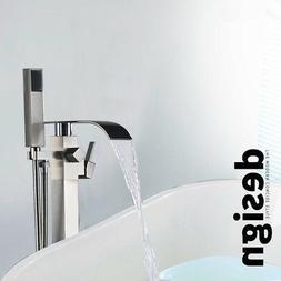 Chrome Brass Floor Mount Bathroom Tub Faucet Free Standing T