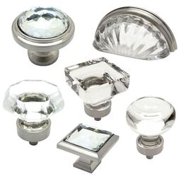 Cosmas Clear-Satin Nickel Glass Cabinet Knobs, Cup Pulls & H