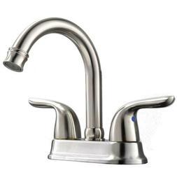 Commercial Modern Dual Handles Brushed Nickel Bathroom Fauce