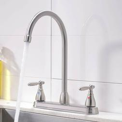 Contemporary Brushed Nickel Kitchen Faucet,Double Metal Hand