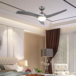 "52"" Modern Ceiling Fan with LED Panel Light& Remote Silver C"