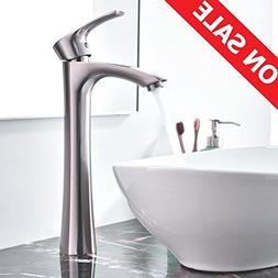 KINGO HOME Contemporary Single Handle Brushed Nickel Tall Ve