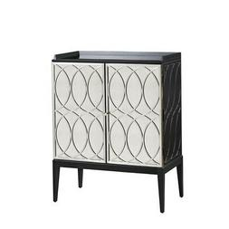 Bassett Mirror Deandra Cabinet in Brushed Nickel Grille Fini