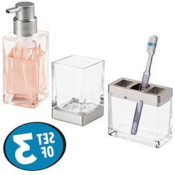 mDesign Decorative Glass Bath Accessory Set for Bathroom Van