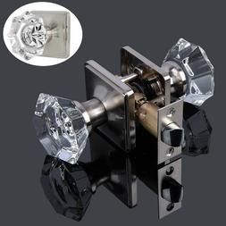 Diamond Crystal Glass Privacy Door Knobs Black Passage Hanld