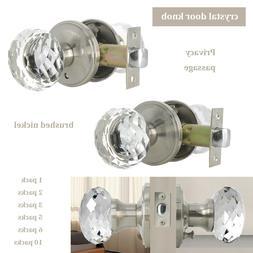 Diamond Crystal Glass Privacy Door Knobs Brushed Nickel Clea