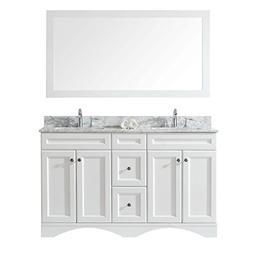 Virtu USA ED-25060-WMSQ-WH-001 Talisa Double Bathroom Vanity