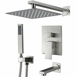 "Esnbia 10""Brushed Nickel Shower Combo Set Tub Spout Wall Mou"