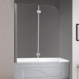 Mellewell Fold 36 in. Width, Frameless Hinged Tub Shower Doo