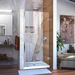 "Dreamline Frameless Shower Door, 28"" Wide Unidoor w/ 6"" Stat"