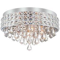 "Kira Home Gemma 15"" Contemporary 4-Light Flush Mount Crystal"