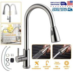 Gold LED Spray Vessel Sink Kitchen Faucet Hot Cold Water Swi