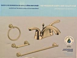 "Hampton Bay Brushed Nickel Bath Set-4"" Faucet+Towel Bar+Ring"