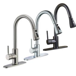 High Arc Single Handle Pull out Kitchen Faucet Single Level