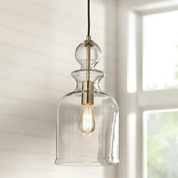 Home Decorators 8.38 in. 1-Light Brushed Nickel Pendant w Cl