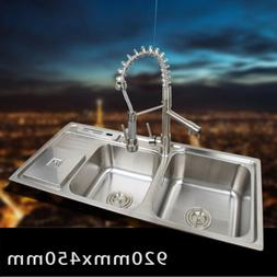 Kitchen Mixer Faucet Brushed Nickel & 2 Sink Soap Dispenser