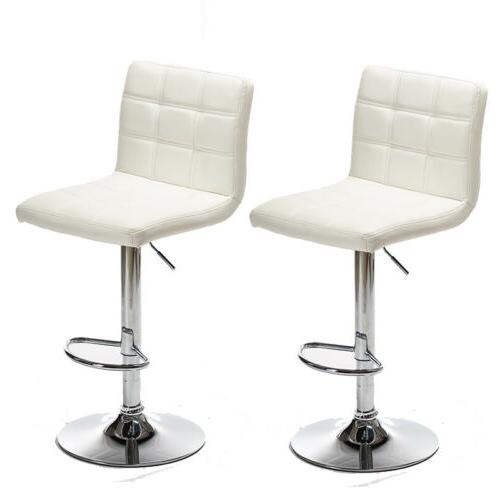 2 Adjustable Stools Counter Leather Chairs