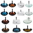 Bathroom Vessel Sink Bowl Tempered Glass Faucet Pop-up Drain