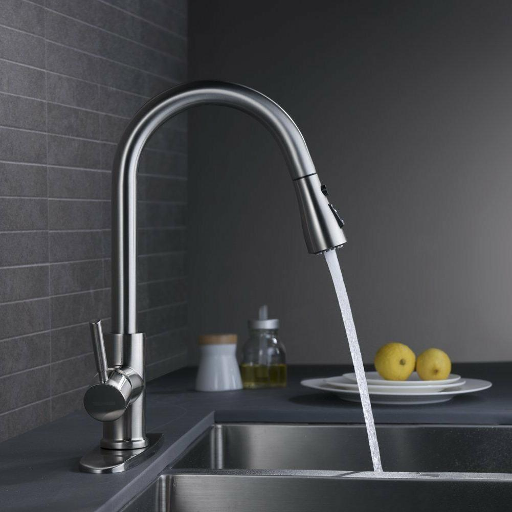 WEWE Arc Brushed out Kitchen Brass Mixer