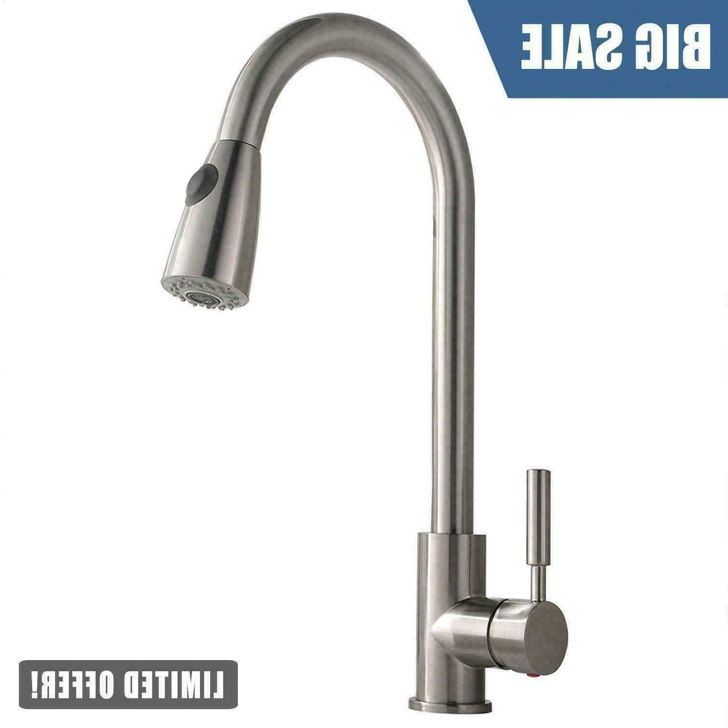 WEWE Single Handle High Arc Brushed Nickel Pull out Kitchen